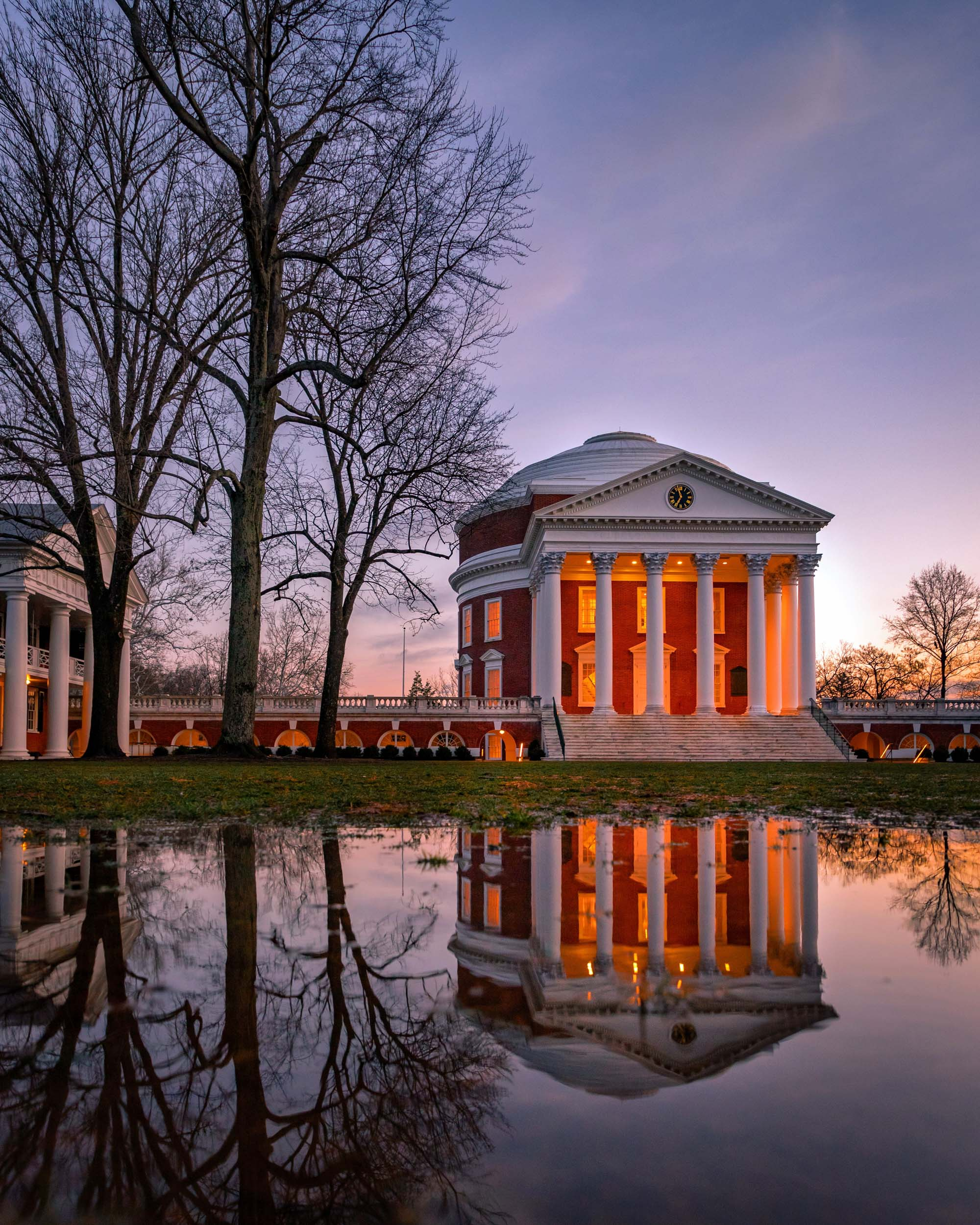 Crane is known for his unique perspectives of familiar UVA landmarks, such as this shot after a winter rain.