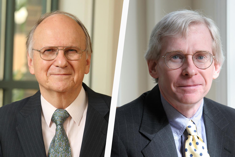 Law professors A.E. Dick Howard, left, and John Harrison