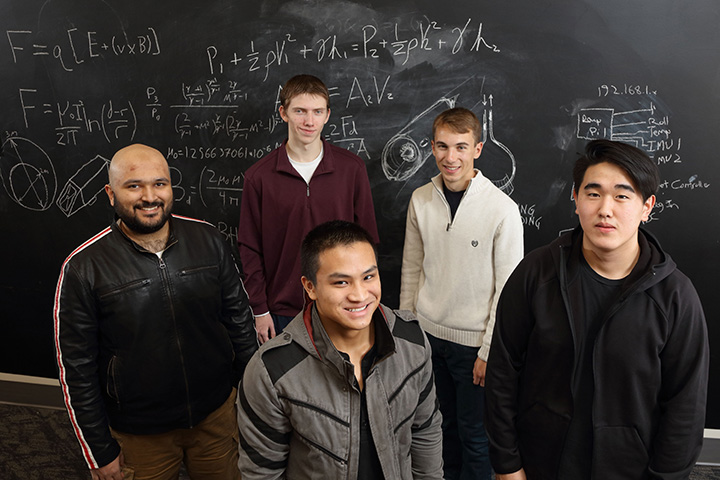 The UVA team. Back, from left: Alishan Hassan, Seth Morris and Aleksander De Mott. Front, from left: Milton Su and Mike Park.