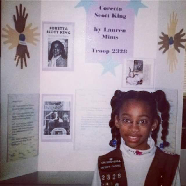 A young Lauren Mims gave a report on Coretta Scott King when she was a Brownie growing up in Fairfax.