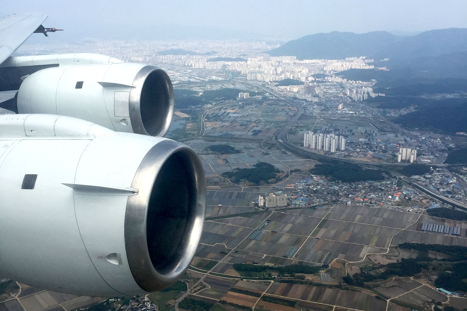 A view of South Korea from a NASA research plane. The study sampled air from a range of altitudes over cities, countryside and forests.