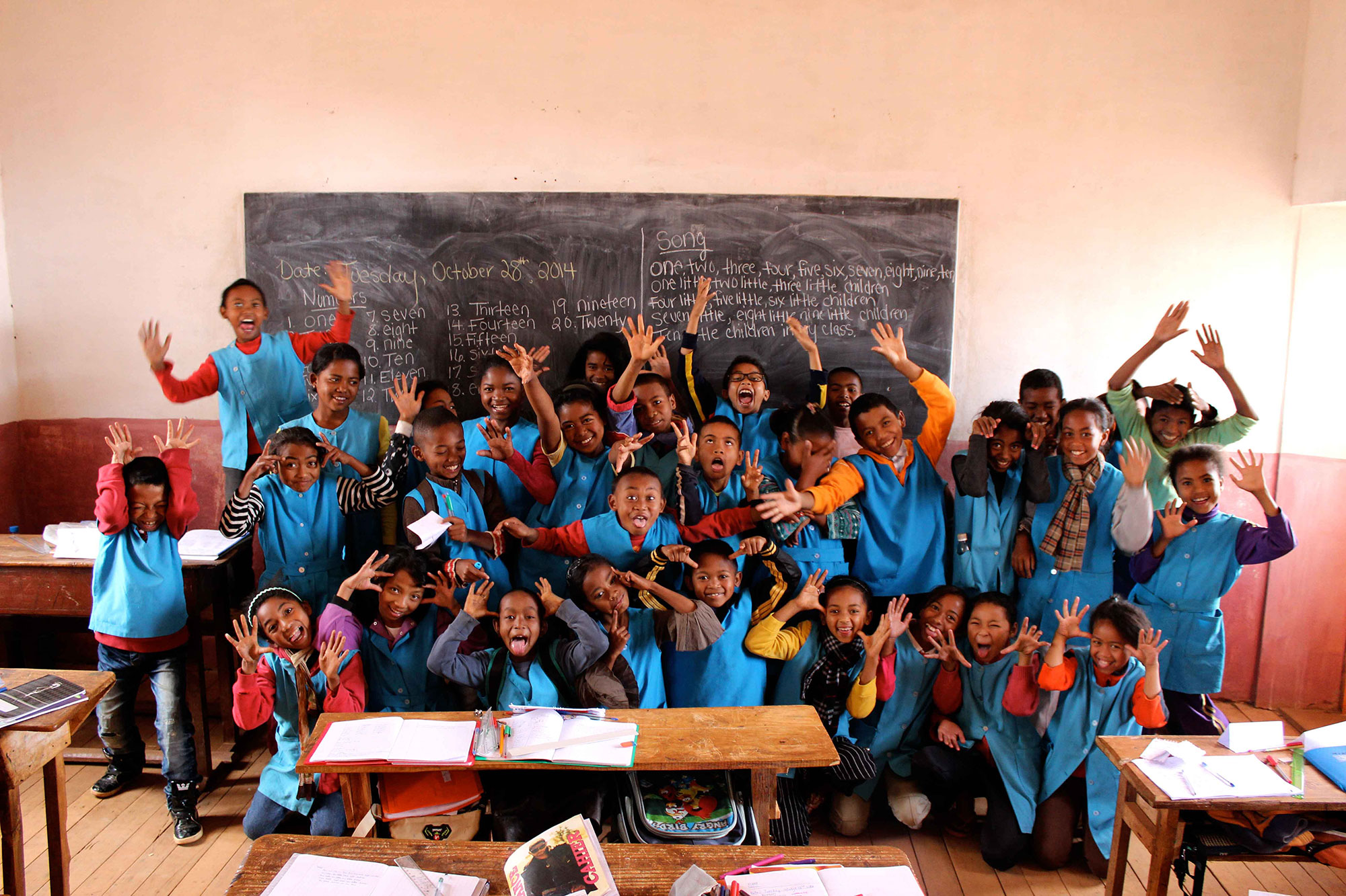 A group of Shafer's students in Antanifotsy, Madagascar.