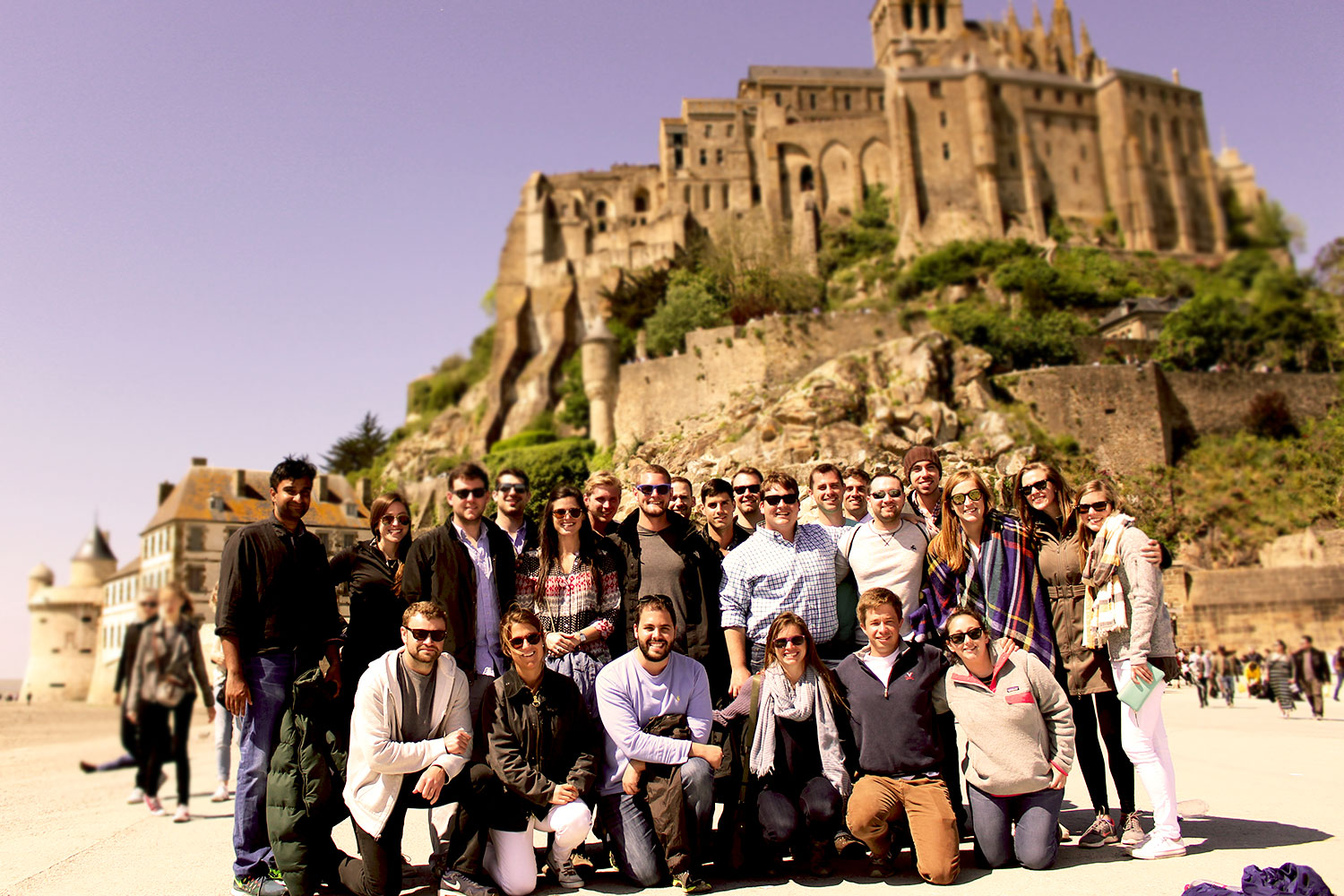 The group toured the Normandy beaches and Mont Saint-Michel, pictured here.