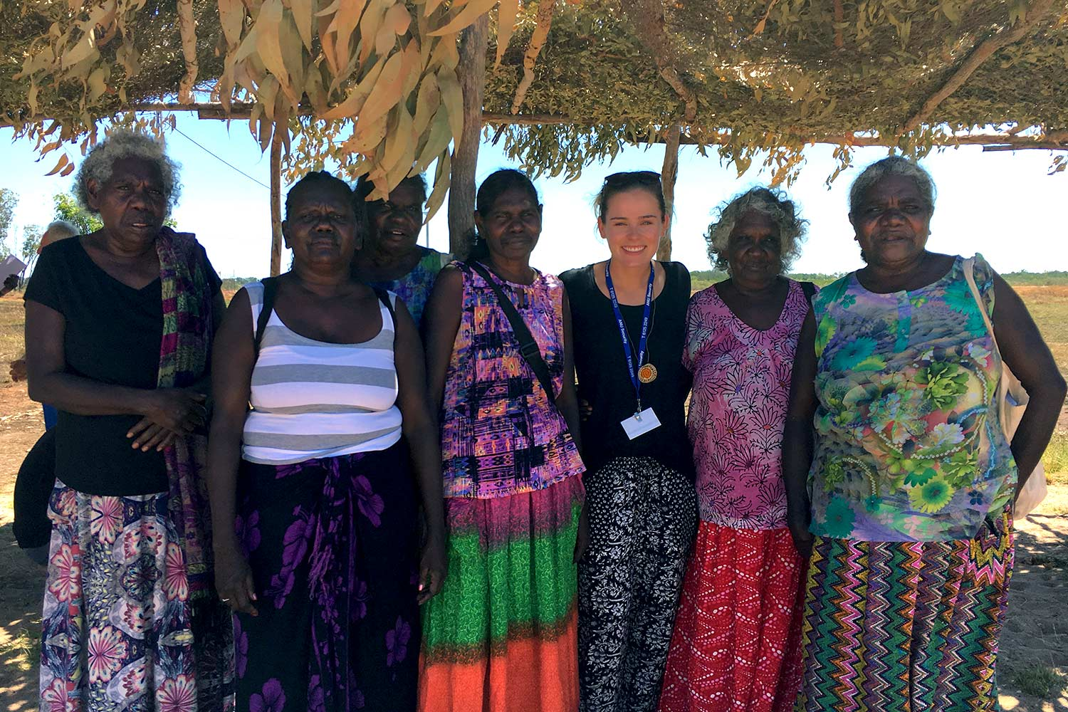Sydney Collins, third from right, with members of the Milingimbi community during the Makarrata. (Photo courtesy of Margo Smith).
