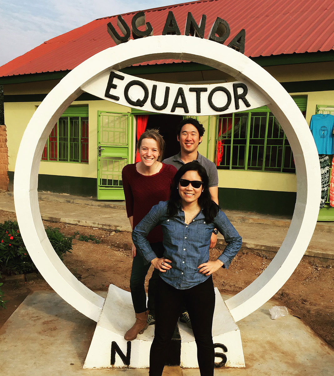 Darden students Christine Thach, Aldea Meary-Miller and Bryan Yoon at the equator. (Photo courtesy of Christine Thach).