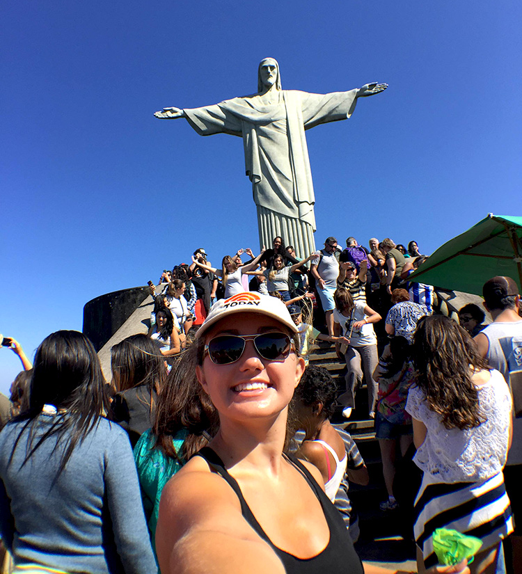 In her time off, D'Elia has been visiting popular Rio attractions like the famous Christ the Redeemer statue that overlooks the city.
