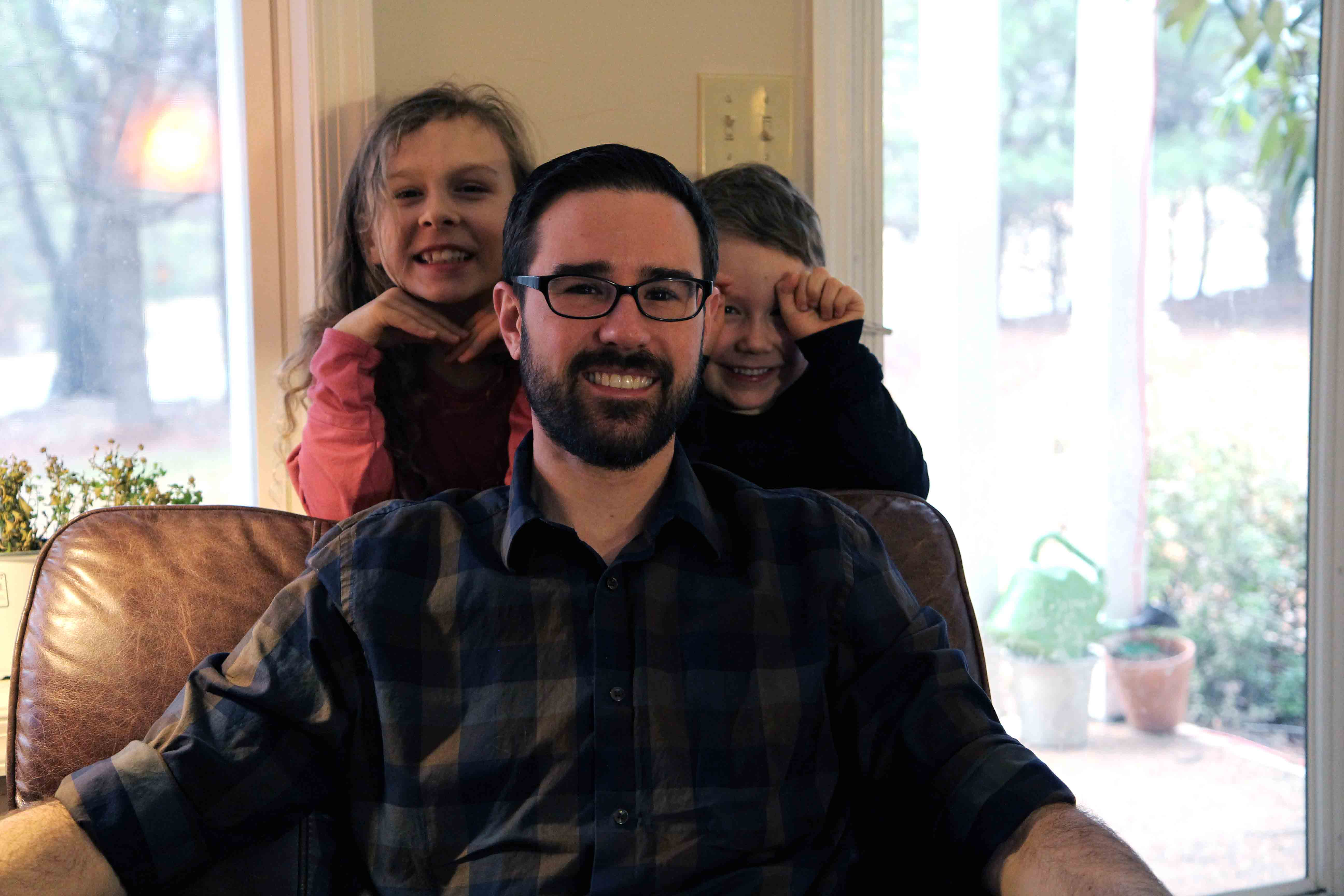 Ryan McFadden – here with daughter Sunny, 7, and son Atticus, 5 – was, among other things, a stay-at-home dad prior to enrolling in UVA's fast-track-to-nursing program with the help if a Conway Scholarship.