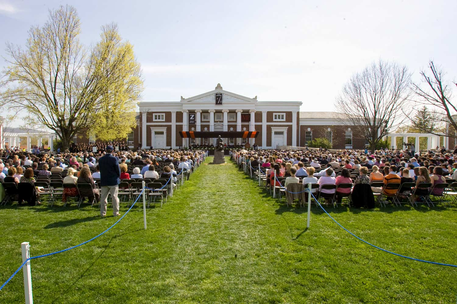 CAPTION: Ryan's predecessor, President Emerita Teresa A. Sullivan, enjoyed a sunny inauguration ceremony on the Lawn in 2011.