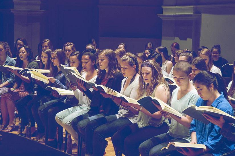 The 95 students currently participating in University Singers have a wide range of academic interests but share a common passion for music.