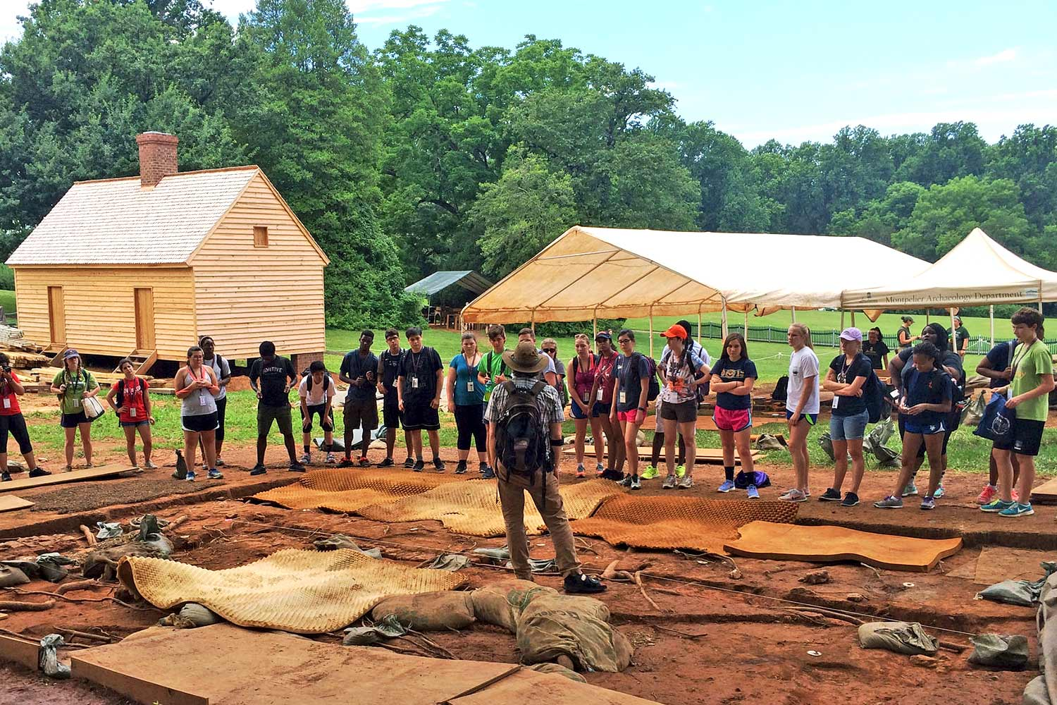 High school students attending UVA's Cornerstone Summer Institute visited Montpelier, James Madison's home, to learn about and take part in the archaeological work on sites where slaves and freed black families lived. (Submitted photo)