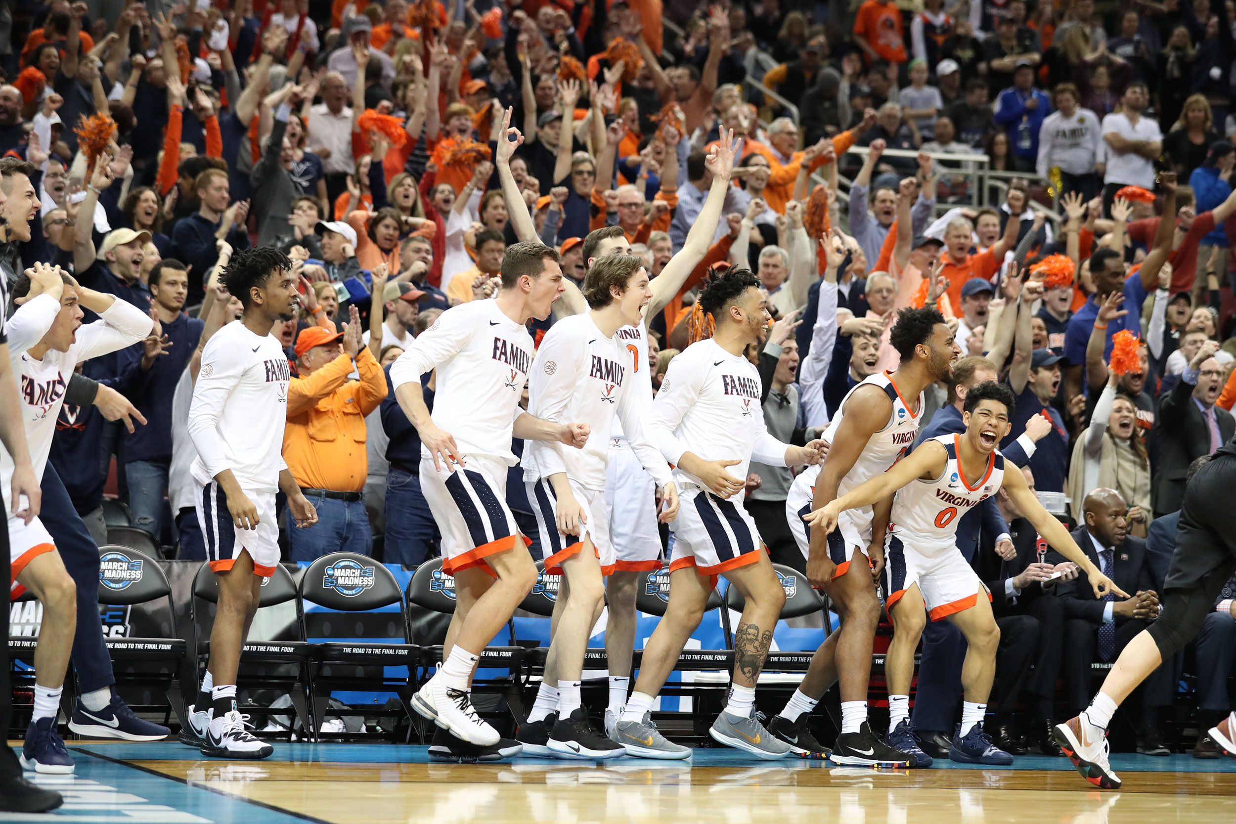 The UVA bench reacts as its game against Purdue University drew to a heart-stopping close.
