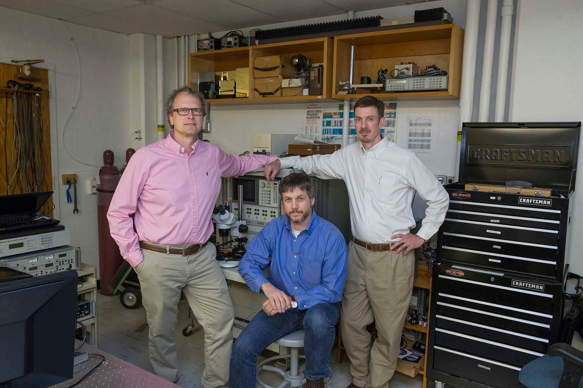 Dominion Microprobes group winners: This year's Innovators of the Year group winners from left to right, professors Robert M. Weikle II, N. Scott Barker and Arthur W. Lichtenberger.