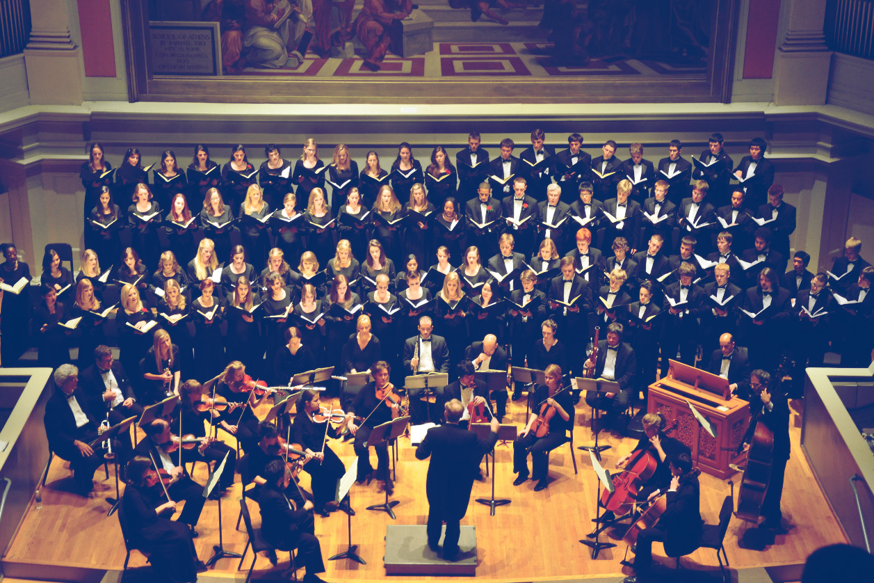 "The University Singers during a performance of Handel's ""Messiah"" in 2014. (Photo courtesy of Michael Slon)"