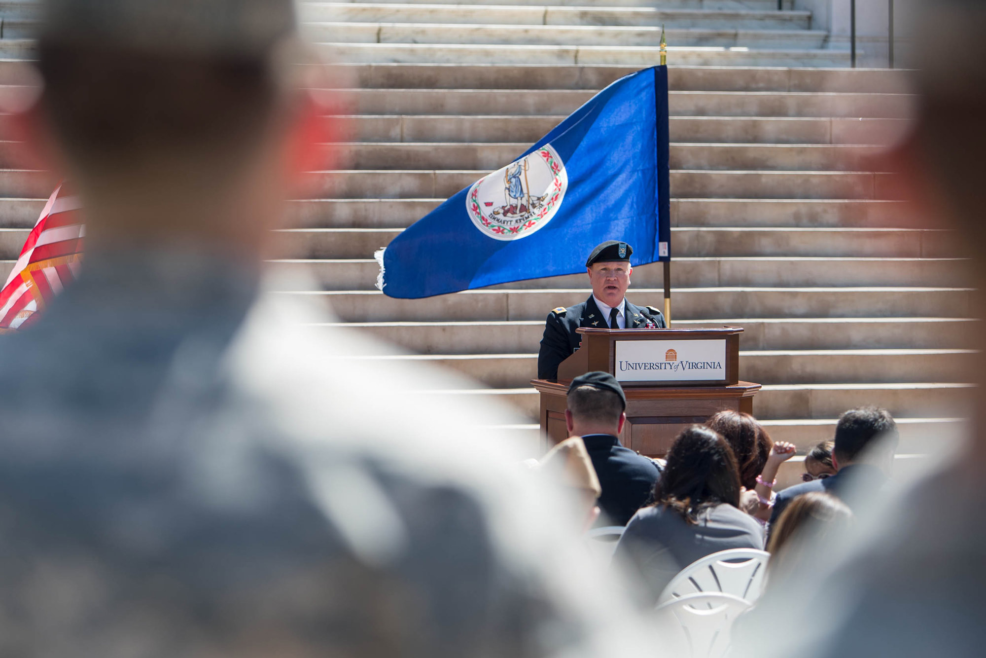 Former Col. Robert E. McMillin II, a 1984 UVA history graduate and a member of the Army ROTC program, spoke about Capt. Khan.