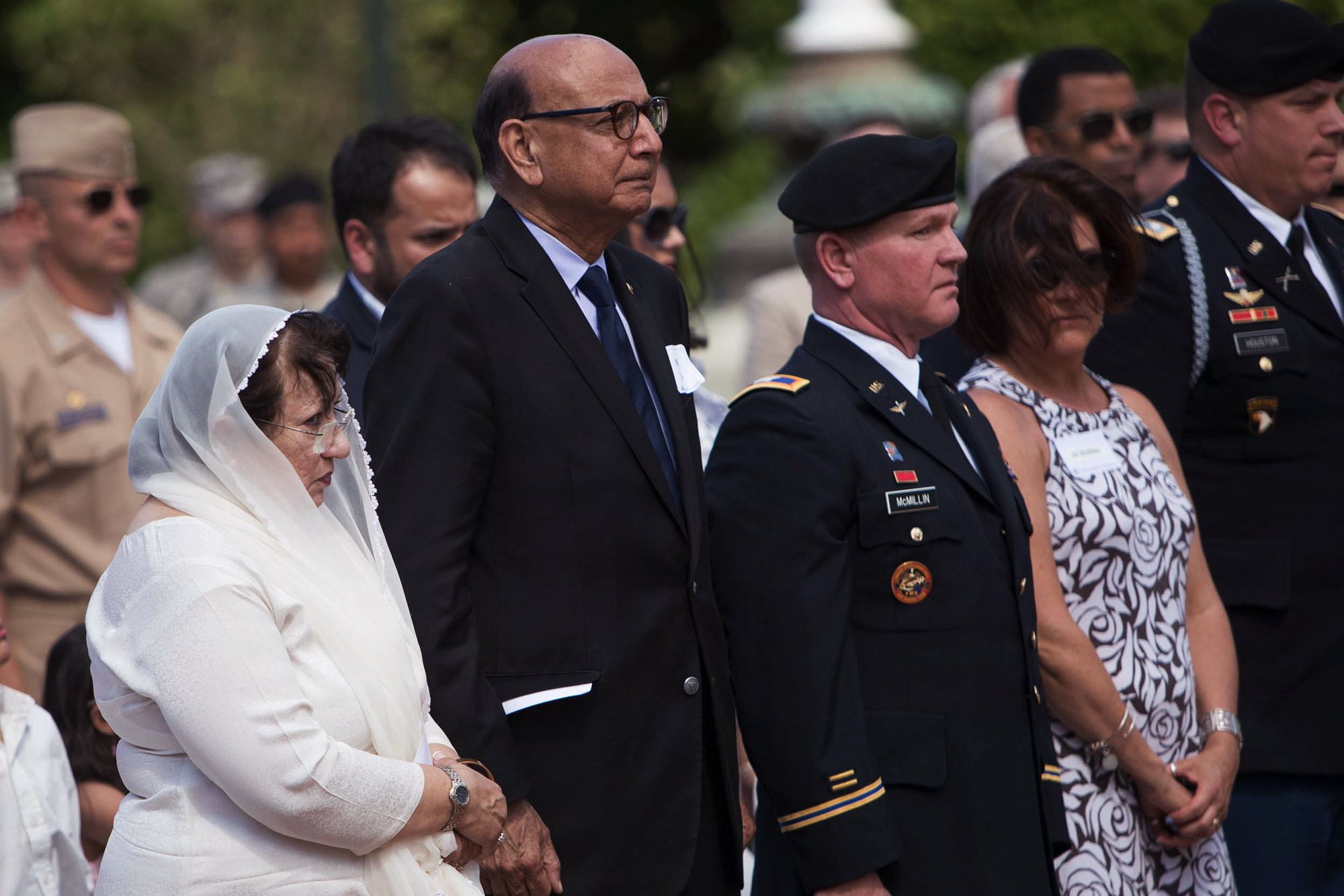 Ghazala and Khizr Khan, and former Col. Robert E. McMillin II, attended the dedication ceremony Tuesday.