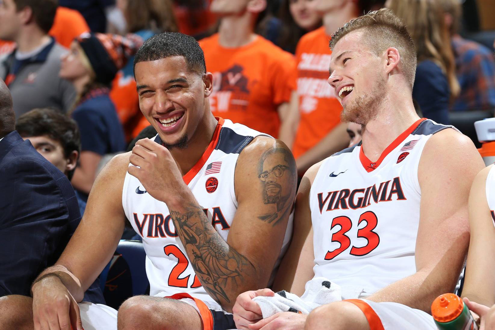 Wilkins said his teammates, including his former roommate and close friend Jack Salt, have provided constant, invaluable support. (Photo by Matt Riley, UVA Athletics)