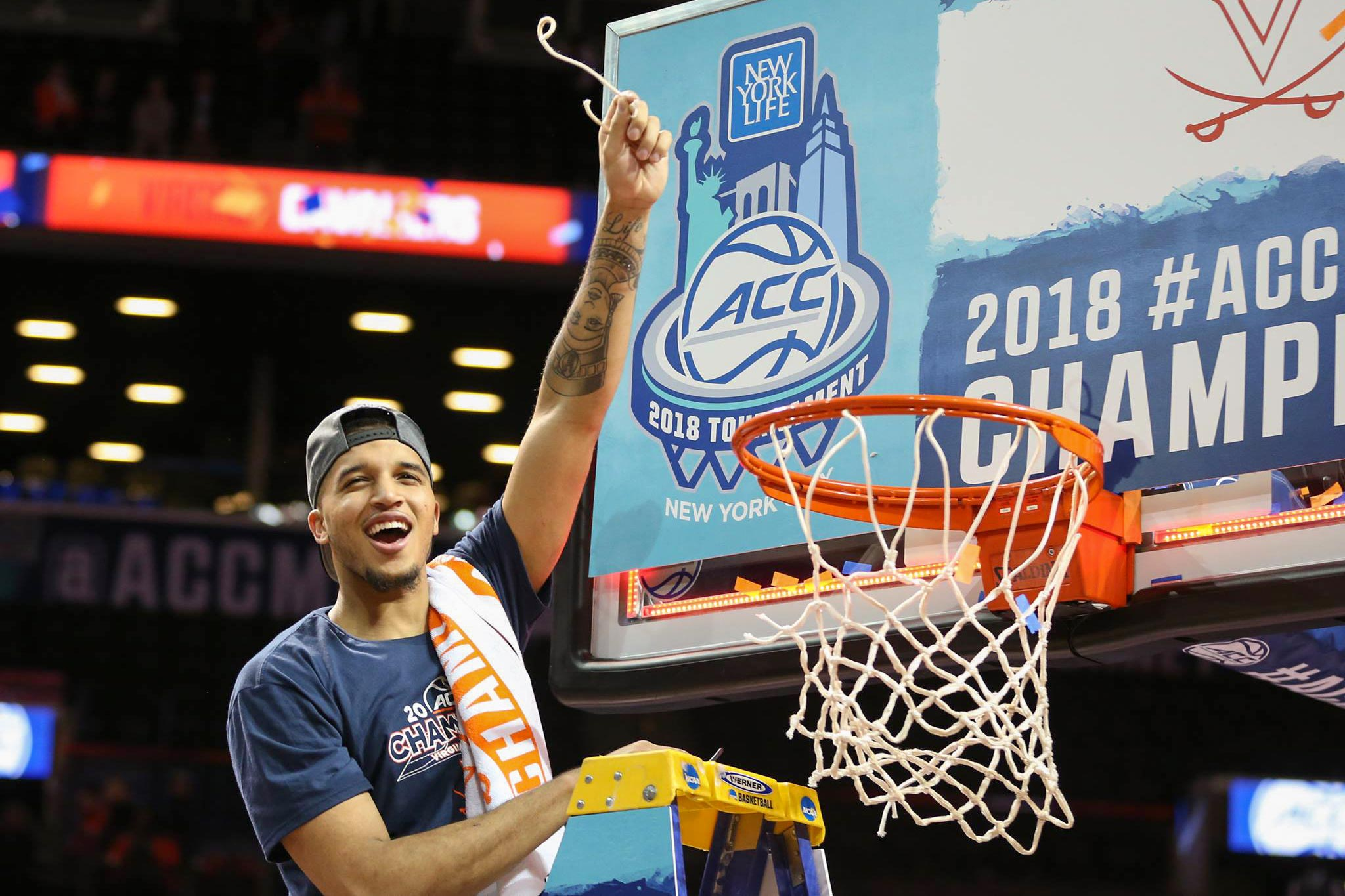 Wilkins helped cut down the nets when the 'Hoos won the 2018 ACC Tournament in Brooklyn.