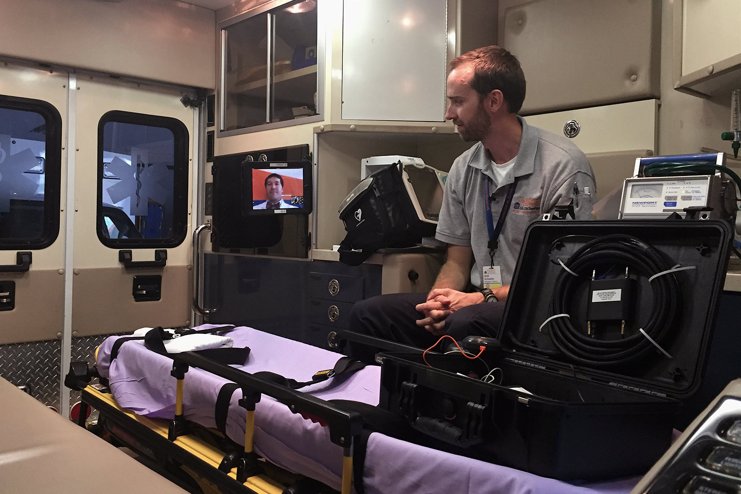 The tablet can be mounted in an ambulance, virtually bringing a doctor to the patient while en route. (Photos courtesy of UVA's Health System)