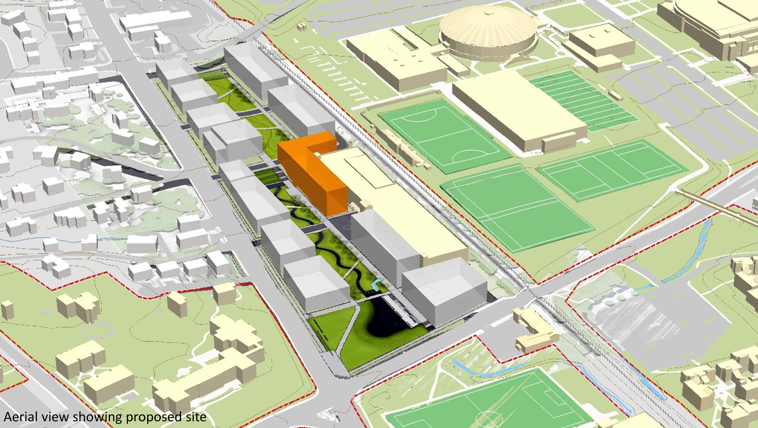 A preliminary site plan shows the hotel and conference centers proposed location in orange, wrapping around the west end of the Ivy-Emmet Parking Garage.