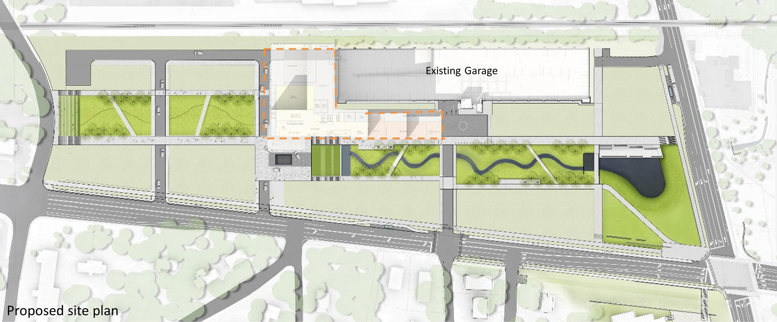 Preliminary site plans for the Ivy Road site include preserving a spine of natural green spaces.