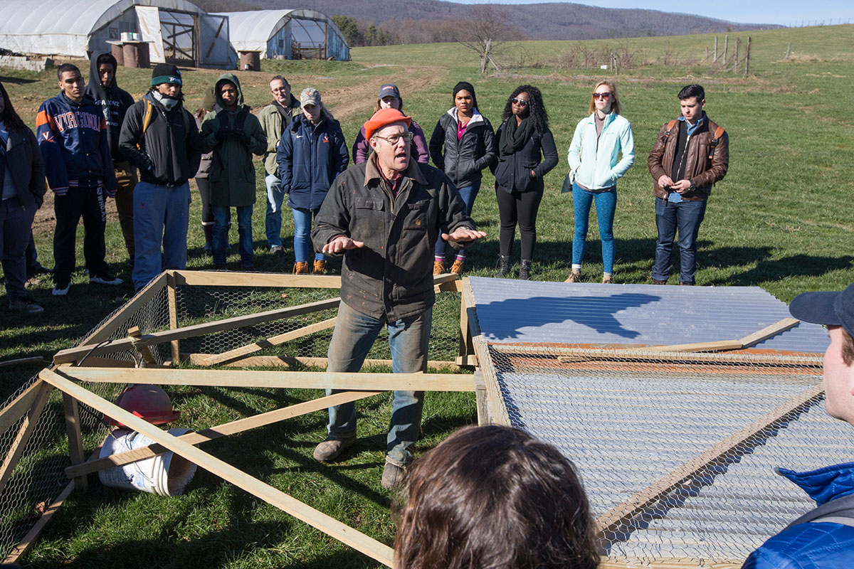 Joel Salatin, owner of Polyface Farm, uses one of this portable chicken houses to illustrate his principals of mobile, modular and management intensive agriculture. The light-weight structures, made of wood, wire and sheet metal, house small amounts chick