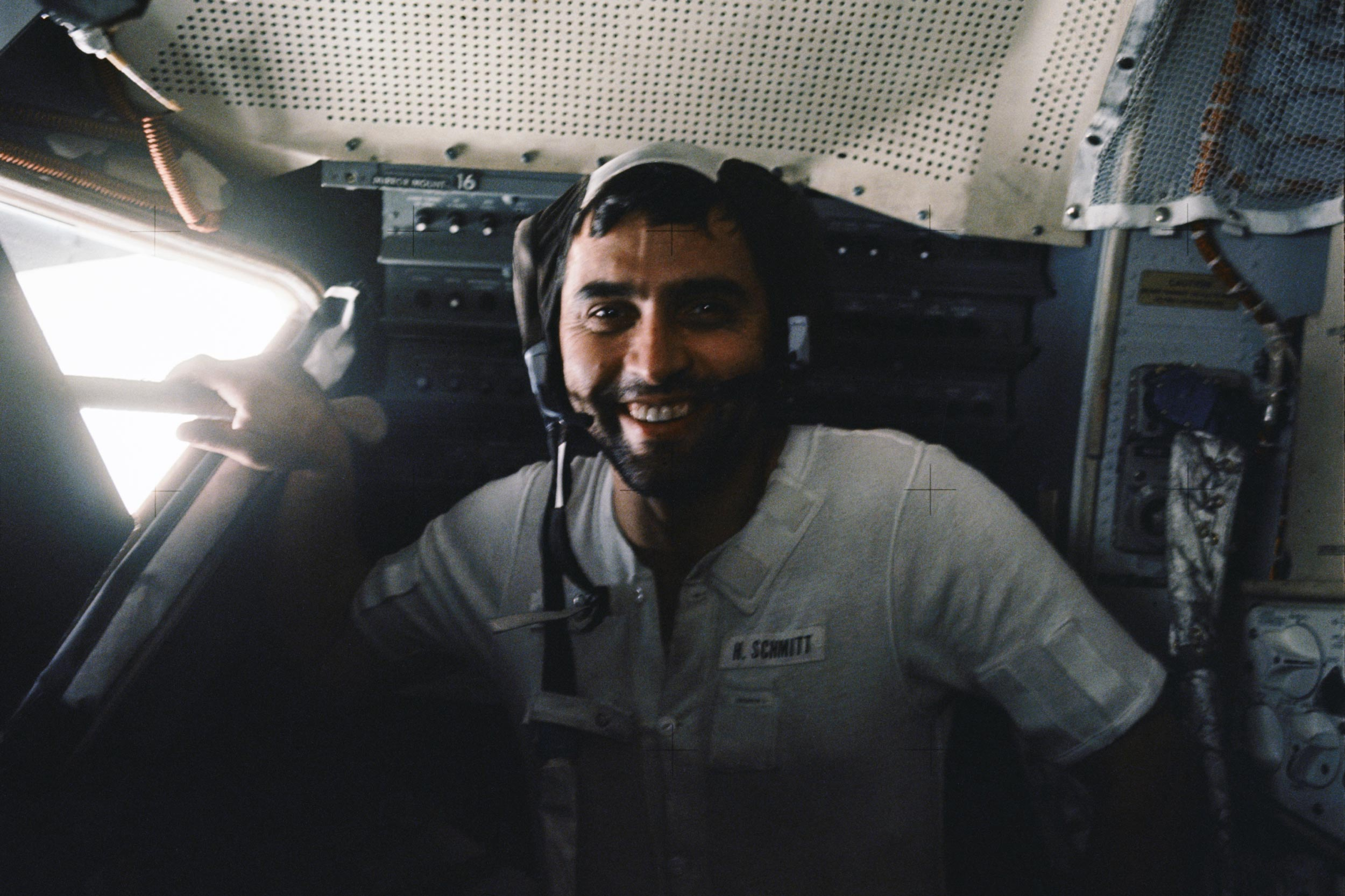 """Apollo 17 astronaut Harrison H. """"Jack"""" Schmitt is photographed inside the lunar module following the third extravehicular activity of his mission. (NASA photo)"""