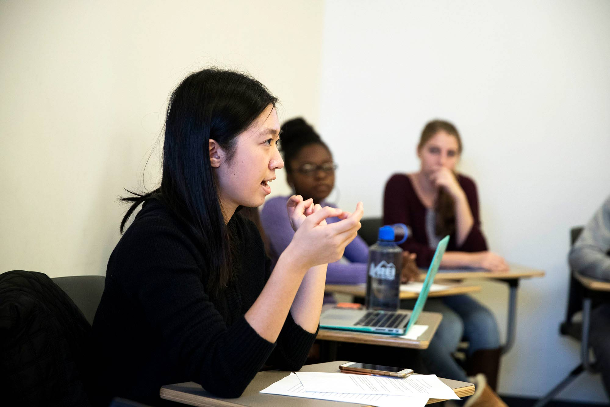 First-year student Yayi Feng, above, and other students talked about different resources, groups and events on Grounds that they discovered through Horne's course.