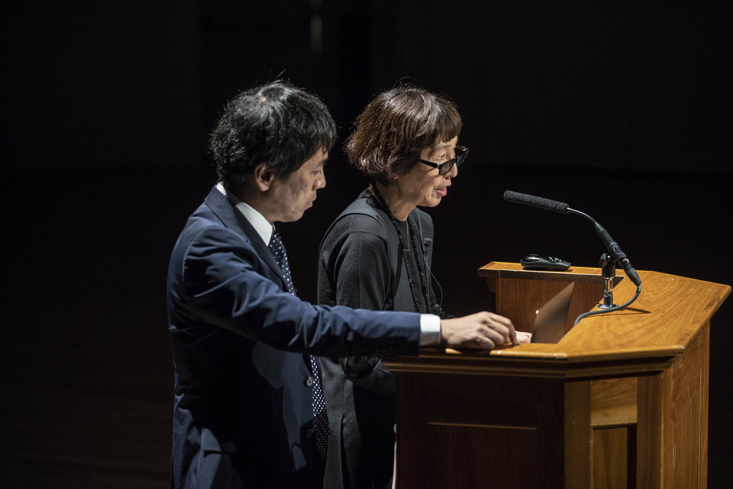 Kazuyo Sejima and Ryue Nishizawa shared some of their work with a large audience of students, faculty and community members in Old Cabell Hall Friday.