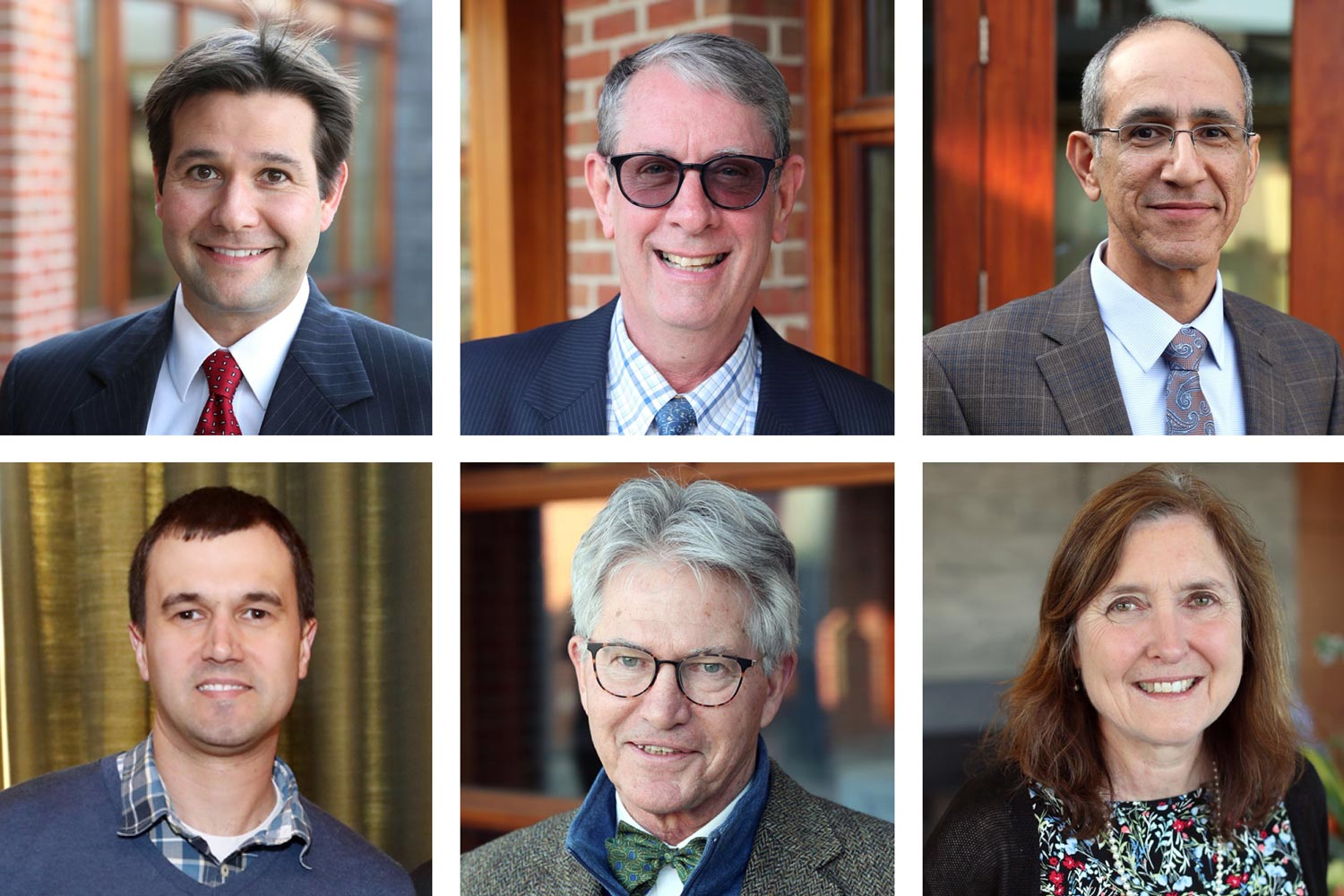 The Jefferson Scholars Foundation honored faculty members, from left (top row) Gavin Garner, David Gies and Kambiz Kalantari; (bottom row) Gary Koenig, George Overstreet and Lisa Reilly. (Jefferson Scholars Foundation photos)