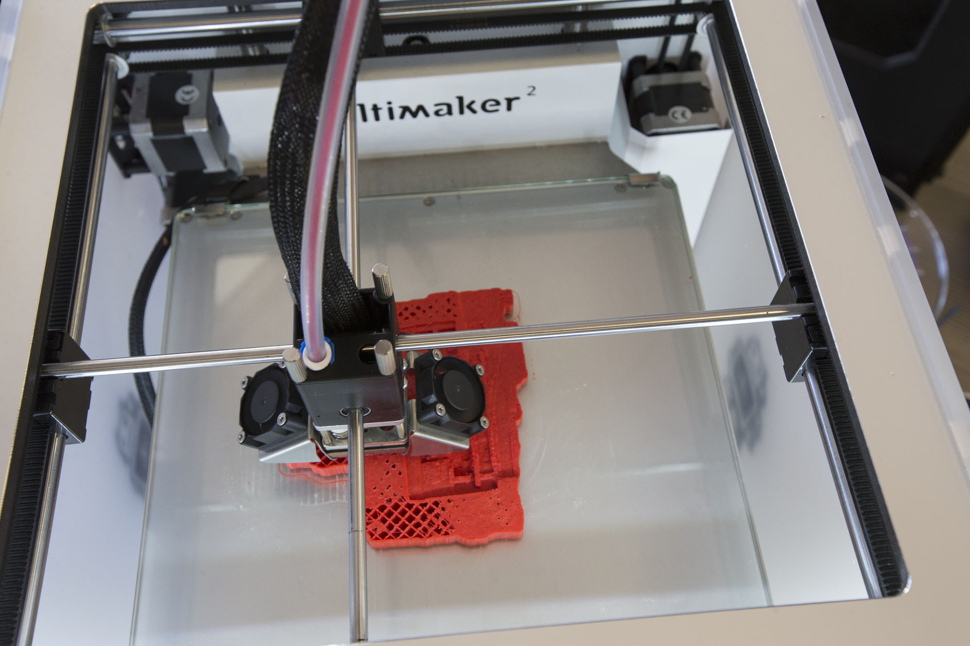 The Makerspace's Ultimaker 3-D printer creates a detailed miniature of the Morgantina dig site in Sicily.