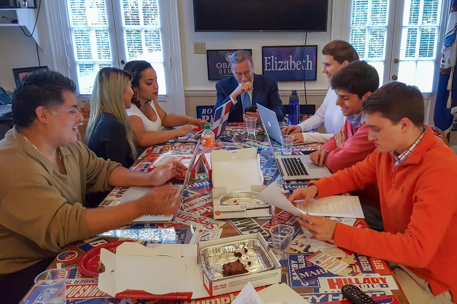 Fueled by pizza and brownies, Larry Sabato and his students pored over the newly released records well into the night.