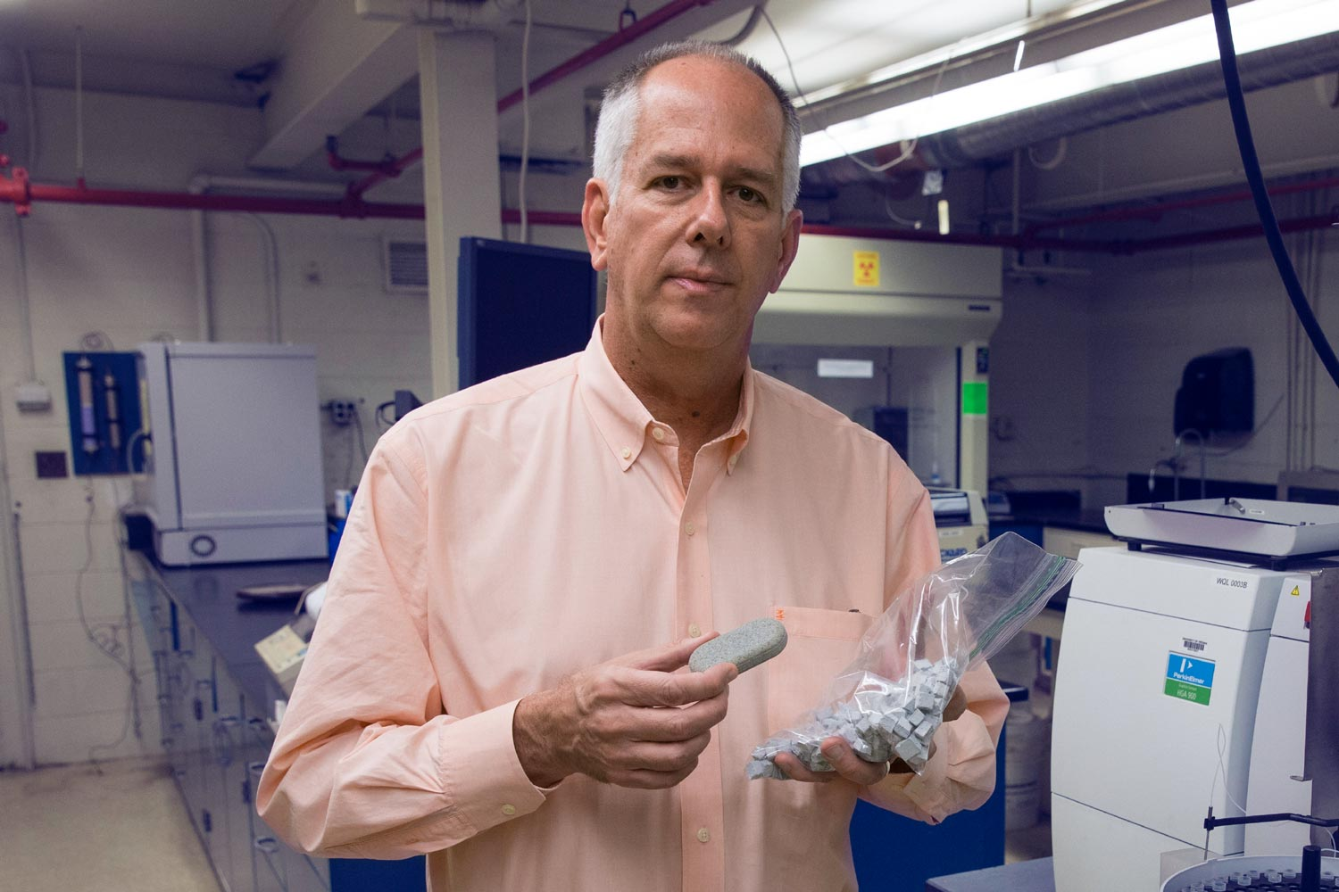 Professor Jim Smith developed the MadiDrop tablet in his UVA engineering lab.