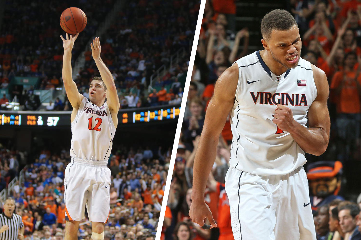 "Former Cavalier stars Joe Harris, left, and Justin Anderson are part of Brogdon's ""Starting Five."""