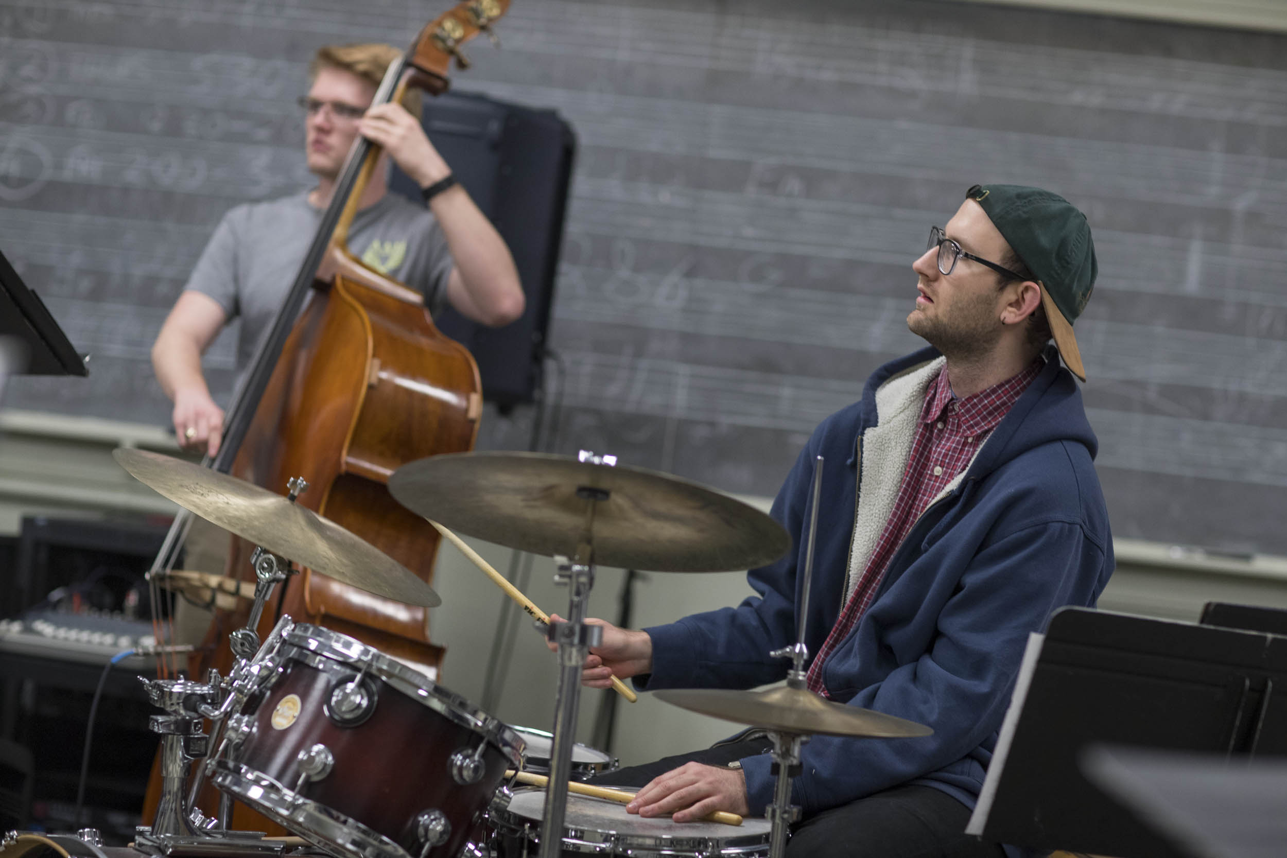 Students in the UVA Jazz Ensemble rehearsed in Old Cabell Hall on Thursday night. (Photos by Sanjay Suchak, University Communications)