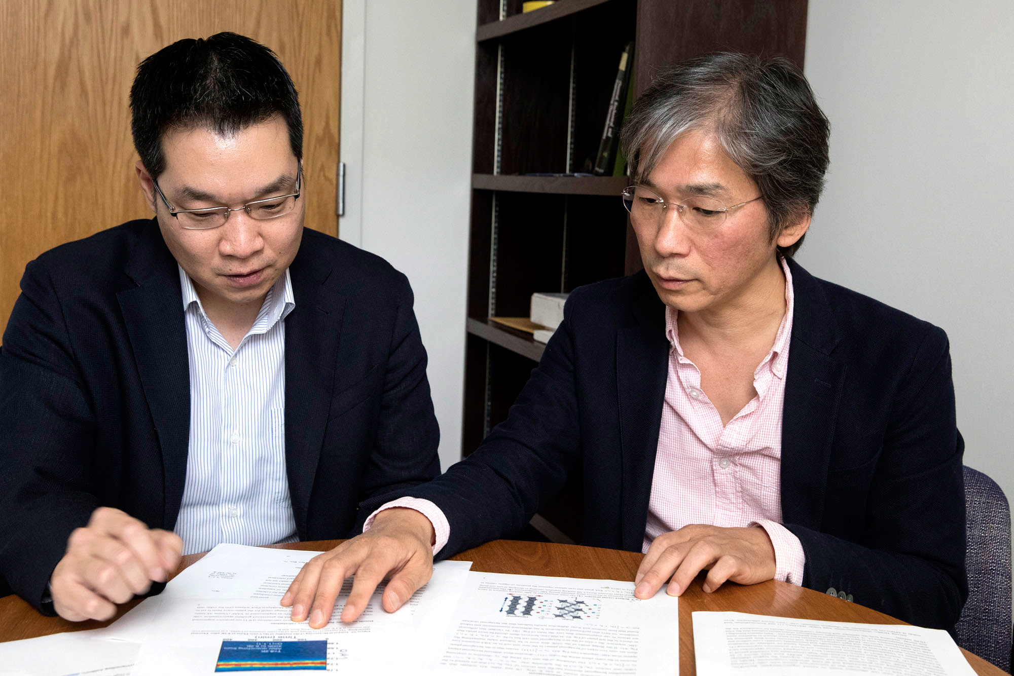 Choi, left, and Lee say HOIPs will be available someday in the near future as inexpensive inks that could be printed onto rolls of paper or plastic and then used as flexible lightweight solar cells for a range of personal electronics uses.