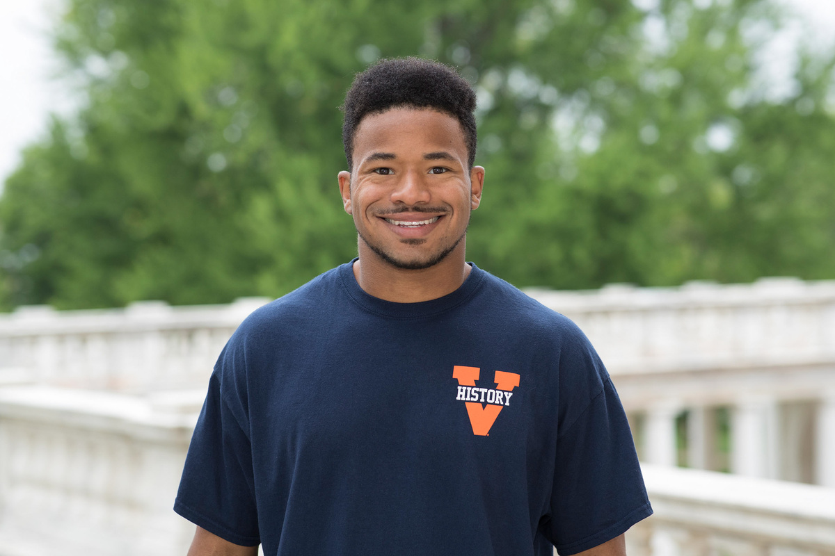 Joshua King, a first-generation student from Greene County, graduated from UVA in May 2019 with degrees in history and Spanish. (Photo by Dan Addison, University Communications)