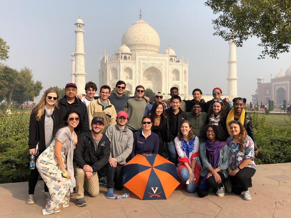Twenty UVA students took a side trip to the Taj Mahal while visiting businesses in Mumbai, Delhi and Dubai in the U.A.E.