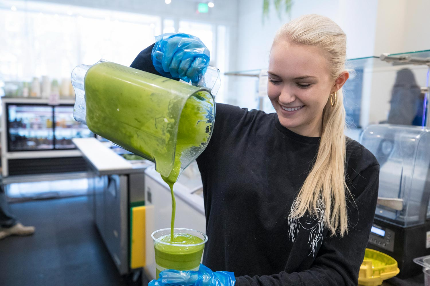 The juices and smoothies have become popular with students, and the company's food items have a growing following.