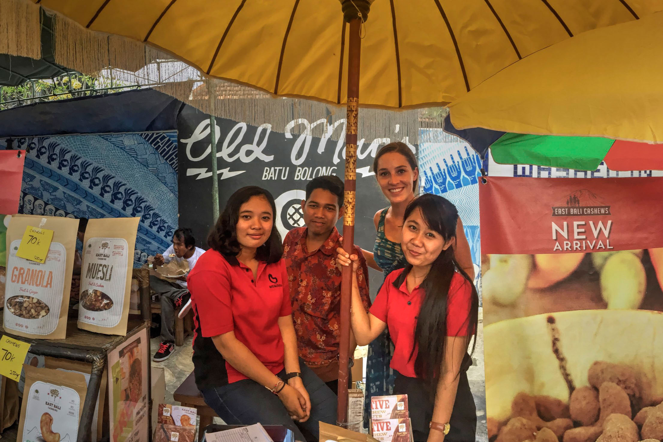 "Juliet Wiebe-King with coworkers Krisna Damayanti, Panca Sucitra and Ayu Yuliastithi at a market at Canggu Beach. ""It is a very popular market that attracts hundreds of tourists and expats,"" Wiebe-King said."