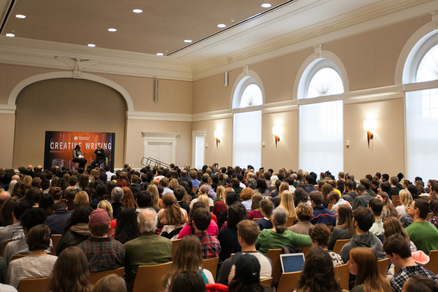Díaz drew a huge crowd to Newcomb Hall Ballroom for a lecture that concluded his three-week residency.