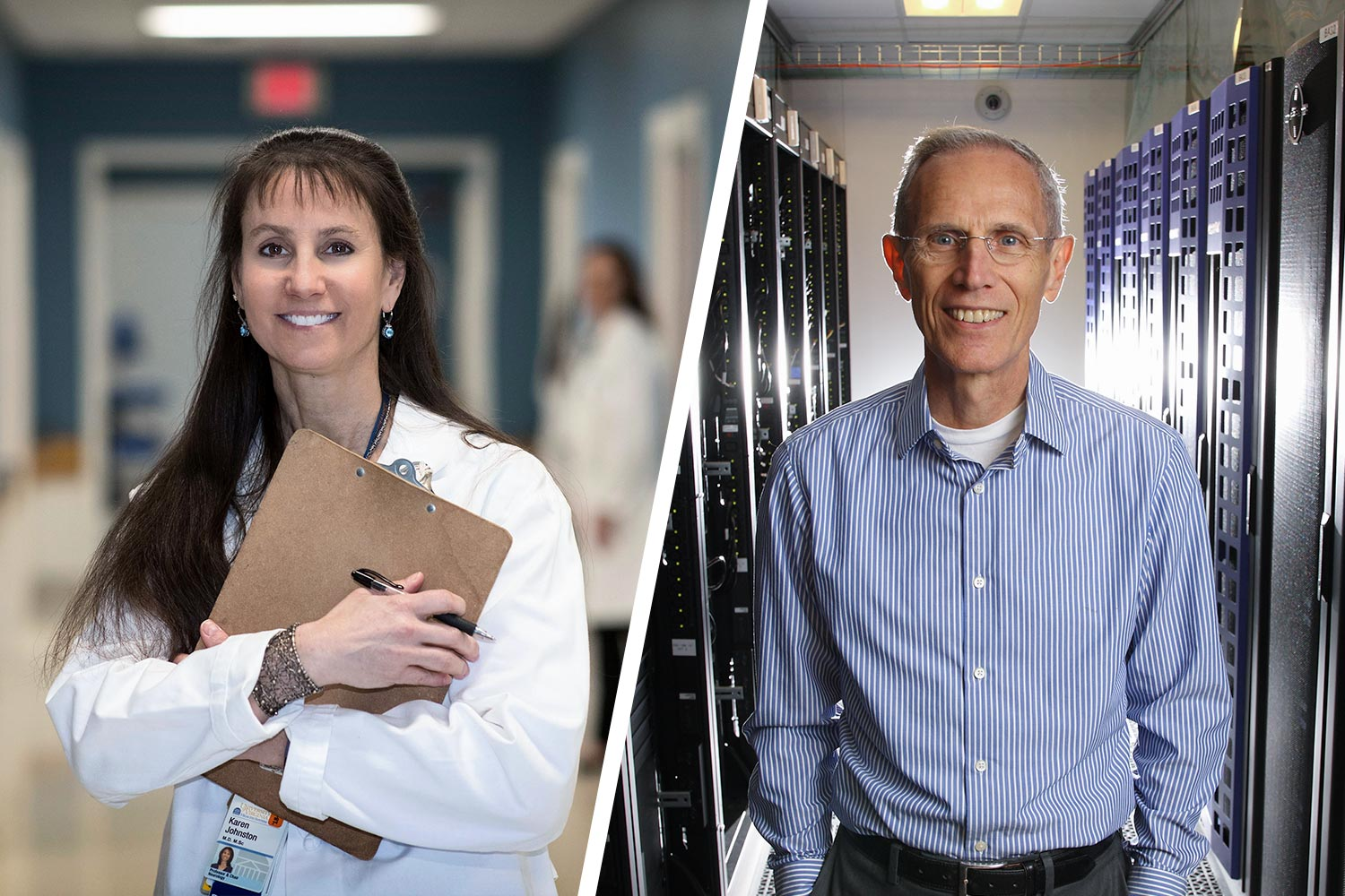 Neurologist Dr. Karen Johnston, left, and data scientist Don Brown are among the grant's principal investigators.