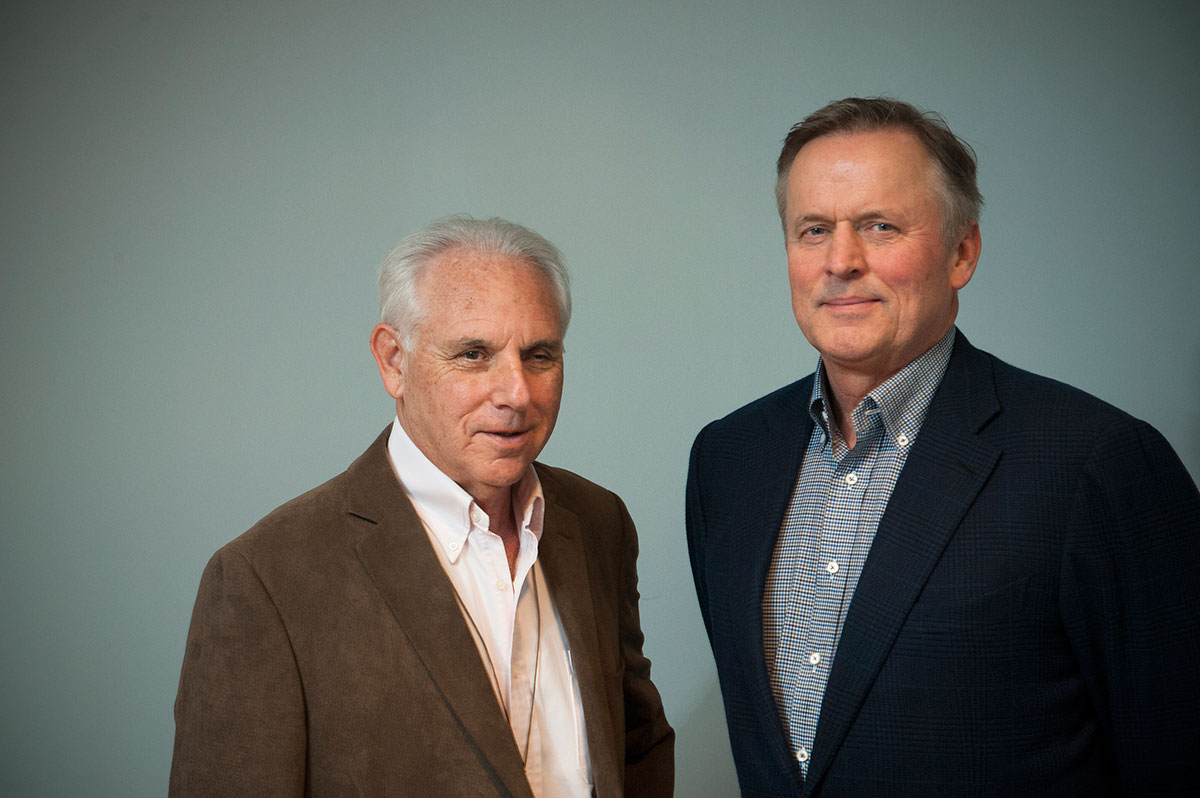 John Grisham, right, serves on the Focused Ultrasound Foundation board, led by Dr. Neal Kassell.