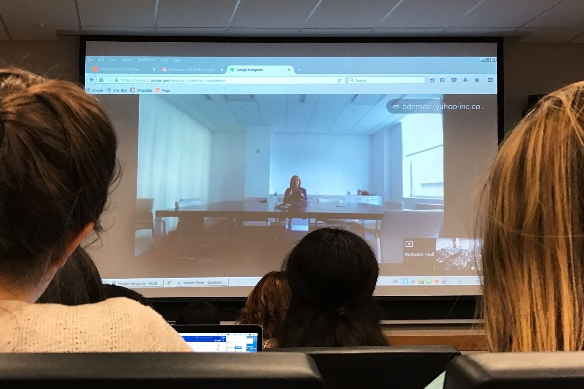 Couric, shown above during the class, spent an hour talking with students, many of them aspiring journalists and broadcasters.