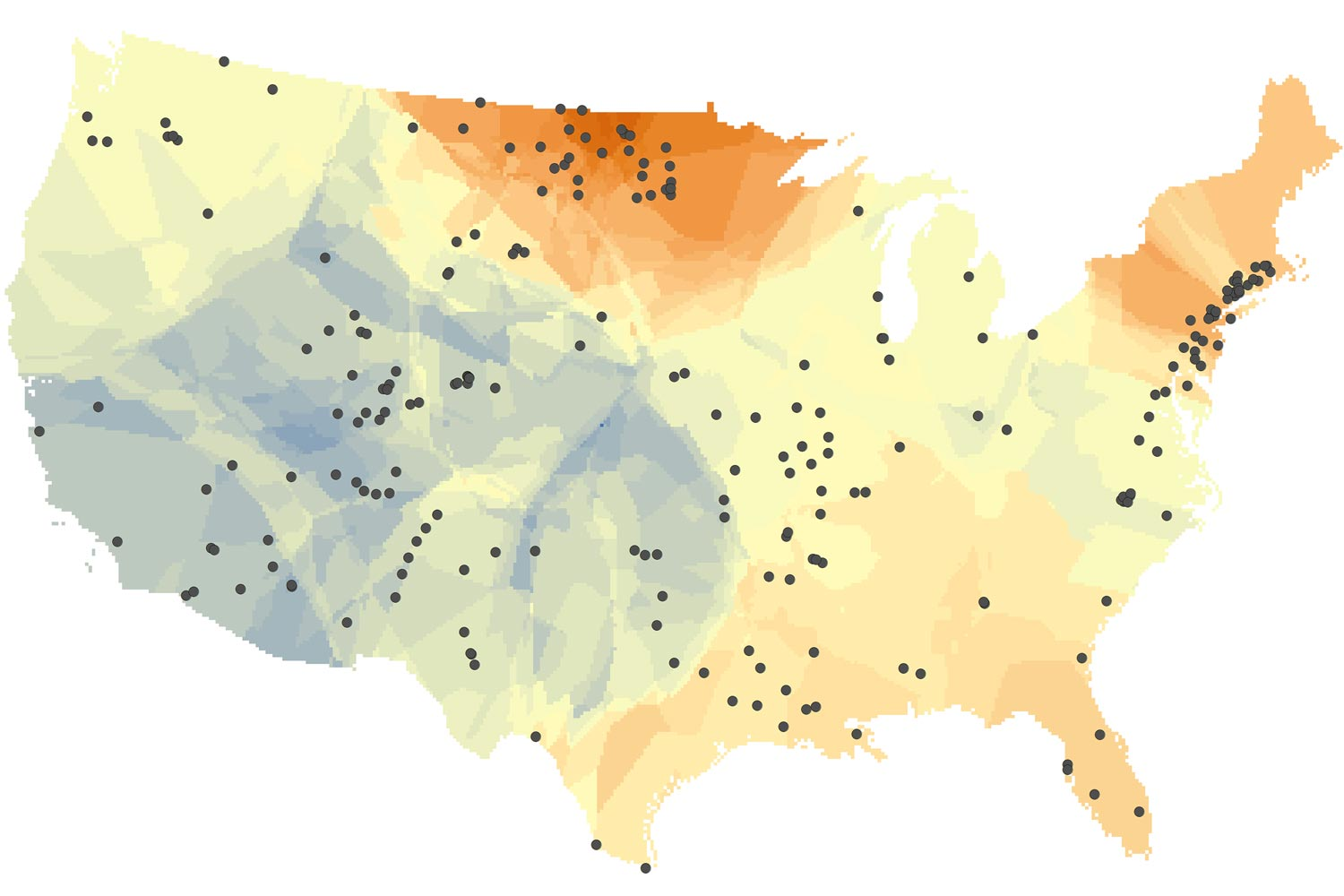 Changes in the salt content of fresh water in rivers and streams over the past half-century: warmer colors indicate increasing salinity; cooler colors decreasing salinity. Black dots represent U.S.G.S. monitoring sites. (Illustration: Ryan Utz, Chatham University)