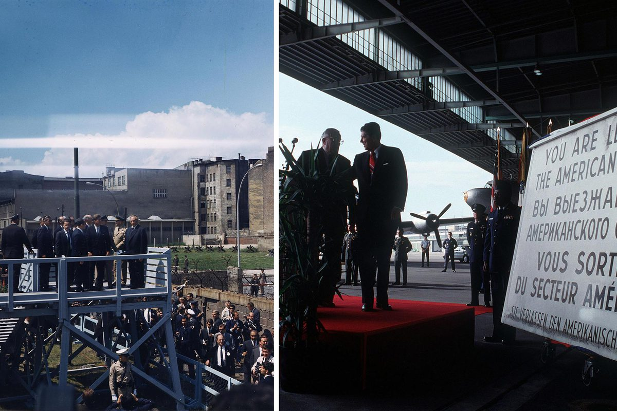 Left, President John F. Kennedy on an elevated platform at Checkpoint Charlie along the Berlin Wall in June 1963. At right, former President Ronald Reagan is presented an obsolete checkpoint sign at Tempelhof Airport in September 1990.