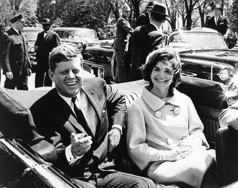 President and Mrs. Kennedy in a 1961 motorcade.
