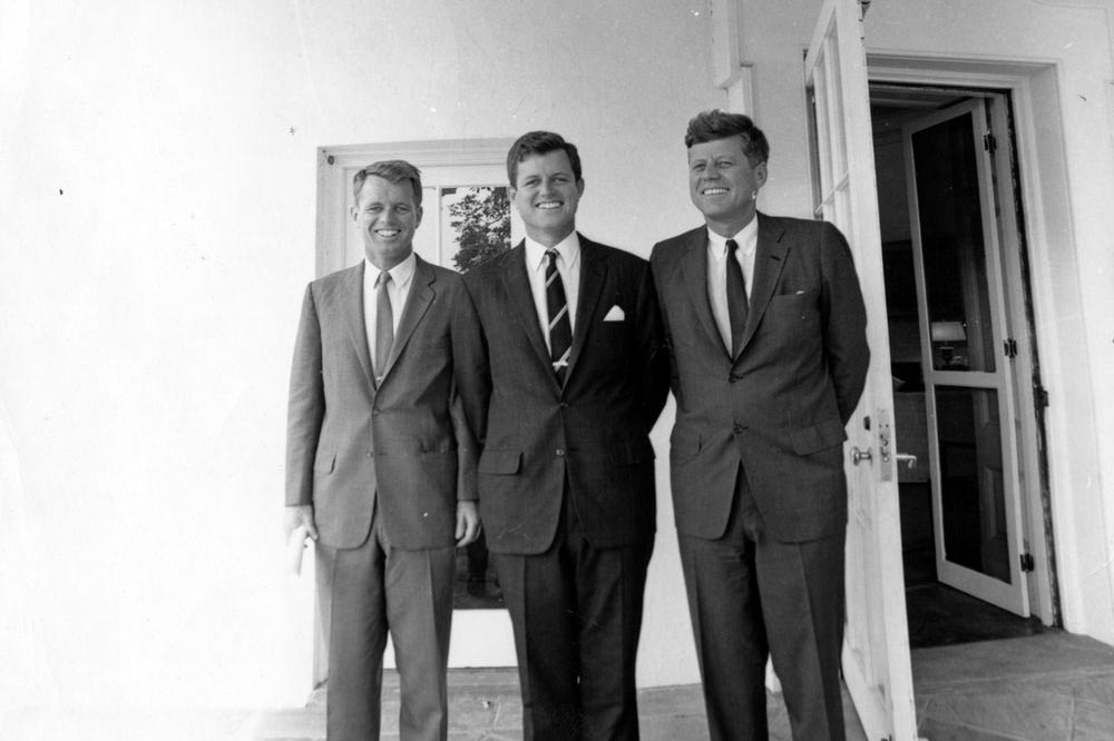 Ted Kennedy, center, with brothers Bobby and Jack at the White House. Ted was the only brother to survive to old age. (