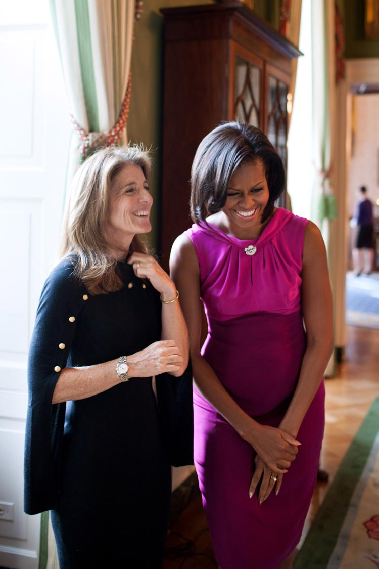 Caroline Kennedy Schlossberg with First Lady Michelle Obama in the White House in 2011.