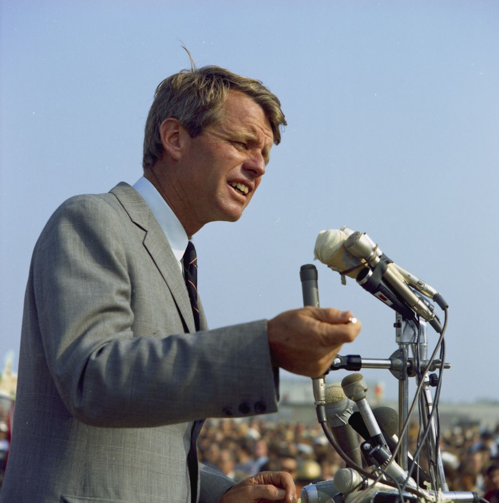 Bobby Kennedy delivers a speech in California while campaigning in 1968.
