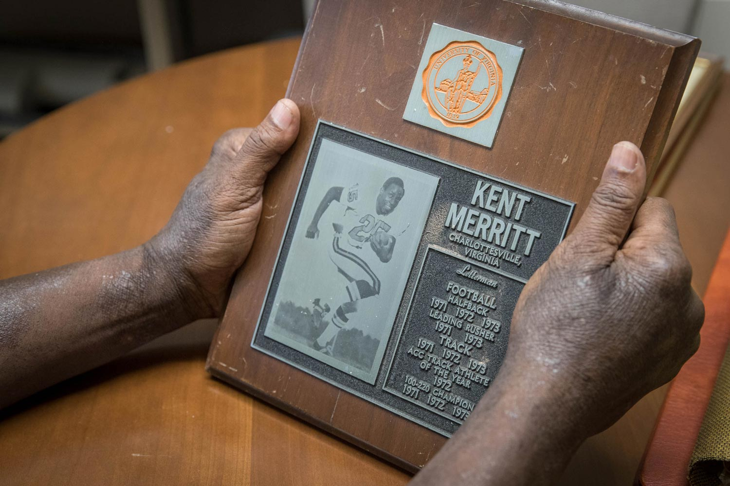 In addition to his success on the football field, Merritt was a standout track athlete.